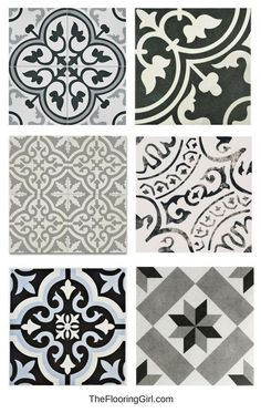 stenciled tiled floors - black, white and gray vintage tiles for a retro or farmhouse style look - bathroom flooring trends. stenciled tiled floors - black, white and gray vintage tiles for a retro or farmhouse style look - bathroom flooring trends. Bathroom Trends, Bathroom Renovations, Bathroom Floor Tiles, Stenciled Tile Floor, Vinyl Flooring Bathroom, Gray Tile Bathrooms, Flooring For Bathrooms, Bathroom Tile Patterns, Tile Floor Patterns