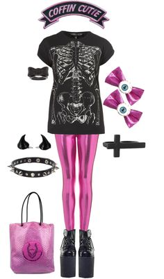 A fashion look from December 2012 featuring cotton shirts, shiny leggings and choker jewellery. Browse and shop related looks. Pastel Goth Outfits, Pastel Goth Fashion, Kawaii Fashion, Grunge Fashion, Grunge Goth, Nu Goth, Rock Outfits, Emo Outfits, Cute Outfits