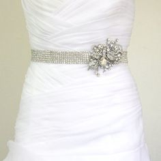 Wedding dress bling sash  Esty vendor- luxebridalcouture