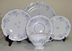 This 5pc place setting is in the Blue Garland pattern from Johann Haviland China.  The platinum trim really makes this china pop and the lovely little blue flowers are on every piece.  I have additional pieces available for sale in my store, plus many serving pieces.