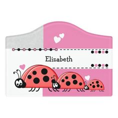 $12.95 | Ladybug baby nursery with name white and pink #playroom #kidsroom #name #nameplate #ladybugs #redandblackladybirds #newbaby #white #grey #pink Kids Door Signs, Baby Ladybug, Small Doors, Foam Adhesive, Dry Erase Board, Room Signs, Acrylic Material, Make Your Mark, Green And Grey