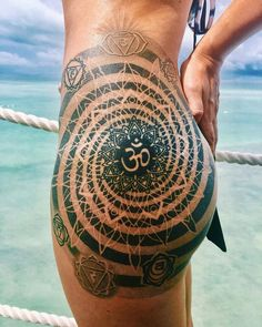 Om & Mandala Hip Tattoo