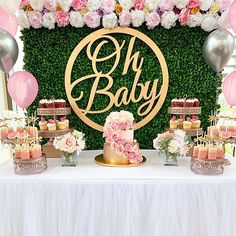 Rose Gold Baby Shower Dessert Table Oh Baby ? Adorable baby shower by A. Baby Girl Shower Themes, Baby Shower Decorations For Boys, Baby Shower Centerpieces, Baby Shower Girl Cupcakes, Baby Shower Floral, Baby Shower Roses, Garden Baby Showers, White Baby Showers, Baby Shower Desserts