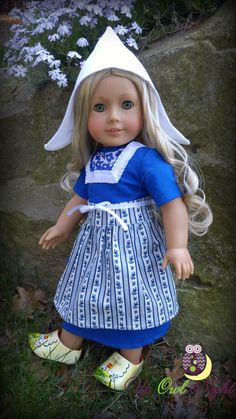 Dutch Maid costume including the clogs! Outfit for sale at Etsy. Pattern by Doll Tag Clothing at PixieFaire.com