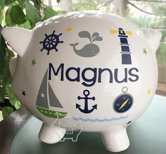 Personalized piggy bank custom baby birth stats gift baby girl personalized piggy bank nautical baby boy piggy bank ocean theme baby gift baby negle Images
