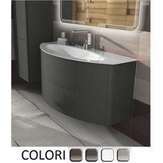 Mobile Bagno Eden con due cassetti e due ante cm 120 lavabo in cristallo decentrato, colori rovere soft , grigio natura, talpa naturale, bianco frassino, arredo moderno lavabo sospeso