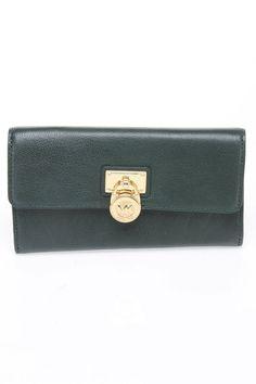 Michael Kors Hamilton Flap Wallet In Hunter Green