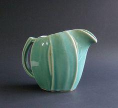 Vintage McCoy Tulip Pitcher - Water Pitcher - Seafoam Green - McCoy Pottery - Ribbed - Flower Vase - Milk Pitcher - Art Pottery
