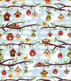Birds and Birdhouses - 40 inches - End of Bolt. $8.75, via Etsy.