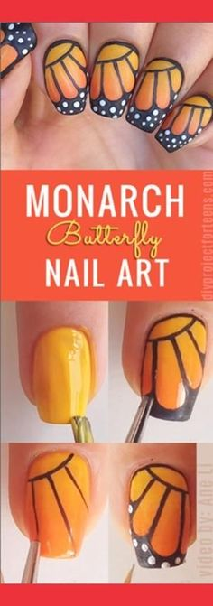 DIY Nail Art Ideas - Monarch Butterfly Nail Design Instructions & Tutorial by brittney