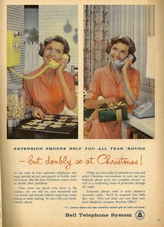 """~ Parents Magazine, December 1956 """"Then when you spend extra hours in the kitchen, you can still run your household and visit family and friends without neglecting cookie baking or candy making. Vintage Phones, Vintage Telephone, Vintage Ads, Old Advertisements, Retro Advertising, Retro Ads, Advertising Design, Retro Housewife, Old Phone"""
