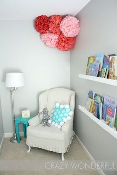 I like the wall color for Marlowe's room. The turquoise table and the pink. Like the book ledge too.