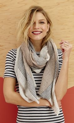 100% cashmere scarf with a striped print in neutral colors. Only $69.95.
