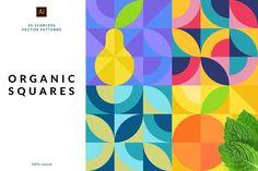 (Super Fun) Geometric Patterns | Pre-Designed Illustrator Graphics ~ Creative Market Vector Pattern, Pattern Design, Web Design, Vector Design, Design Art, Pastel Pattern, Fruit Pattern, Square Patterns, Graphic Patterns