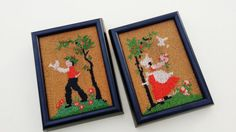 Ok, I seriously fell in love with these quirky #vintage folk art wall hangings in beads! These 70s wall hangings depict a #farmer and his with his wife freeing birds! Colors ... #etsy #farming