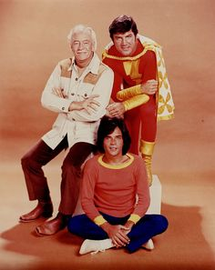 The Shazam!/Isis Hour (1975-77) - The Cast for Seasons 2 & 3:  Mentor (Les Tremayne), Captain Marvel (John Davey) and Billy Batson (Michael Gray).