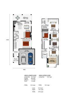 iBuildNew: The Stylus Double Storey House Plans, Narrow Lot House Plans, Family House Plans, Best House Plans, House Plans Mansion, Luxury House Plans, Modern House Plans, 2 Storey House Design, Duplex House Design