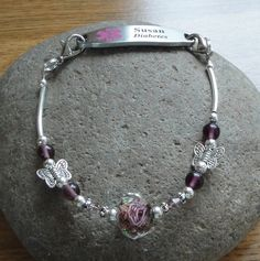 Medical Alert Interchangeable Bracelet - Diabetic, Epilepsy, Allergies, Seizures, Heart, Bee Sting, Asthma, Penicillin, etc. - Amethyst. $9.95, via Etsy.
