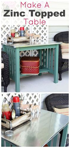 DIY instructions for making a zinc top table. Dining table could be used inside or outside. Galvanized sheet metal was used to keep the cost low. Furniture Projects, Furniture Makeover, Home Projects, Home Crafts, Home Furniture, Furniture Design, Galvanized Sheet Metal, Zinc Table, Estilo Shabby Chic