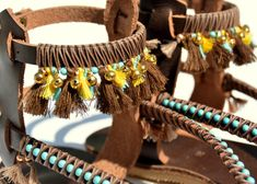 BOHO Genuine leather sandals handmade decorated with tuorquise beads, tassels and gold bells  You can decorate your hands, ears, neck- but also …