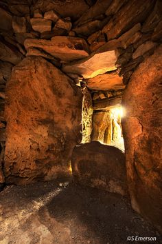 Megalithic sites of Ireland. Loughcrew interior looking out to passage, Ireland.