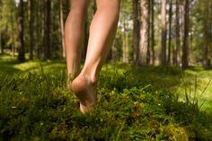 Heerlijk... op blote voeten in het bos lopen