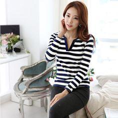 New Fashion Women Casual T-Shirt Stripe Long Sleeve V Neck Slim Tops