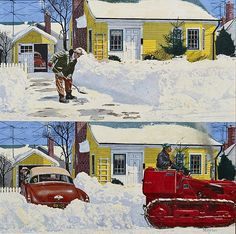 'Plowed Over Driveway, Saturday Evening Post Cover' by Earl Mayan 1916-2009 : Original Oil on board