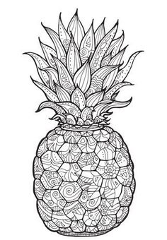 Pineapple Coloring Page PDF Pages For Adults JPG Digital Art Dreams Printable Pin