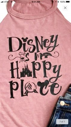 Disney is my happy place tank top. Disney Day, Disney World Vacation, Disney Vacations, Disney Trips, Disney Magic, Walt Disney World, Disney Parks, Disney Bound, Disney Family
