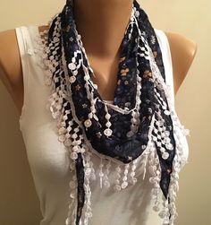 A personal favorite from my Etsy shop https://www.etsy.com/listing/269747415/dark-blue-floral-scarflace-scarfwomens
