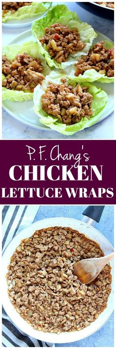 Chang's Chicken Lettuce Wraps - copycat recipe of a popular restaurant favorite! Ground chicken is cooked in Asian hoisin sauce and served on lettuce cups. So delicious! Best Chicken Recipes, Asian Recipes, Healthy Recipes, Turkey Recipes, Healthy Foods, Appetizer Recipes, Dinner Recipes, Appetizers, Dinner Ideas