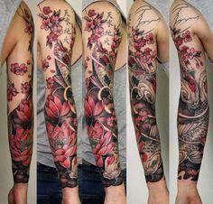 New vine tattoos, cover up tattoos, wolf tattoos, flower tattoos, sleeve ta Japanese Tattoos For Men, Japanese Flower Tattoo, Japanese Sleeve Tattoos, Sleeve Tattoos For Women, Tattoos For Guys, Vine Tattoos, Cover Up Tattoos, Skull Tattoos, Dragon Tattoos