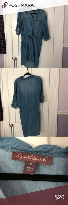 Chambray Dress quarter length sleeve chambray dress (sleeves can be rolled down if desired.) very comfortable and light material. Cinched waist gives it a good shape, comes down to about an inch above the knee on me, and I am 5 ft 4 in. Dresses Mini