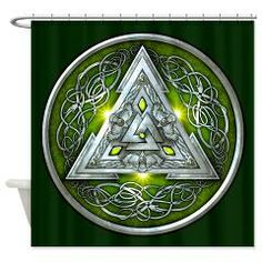 Green & Silver Norse Valknut Tapestry/Shower Curtain