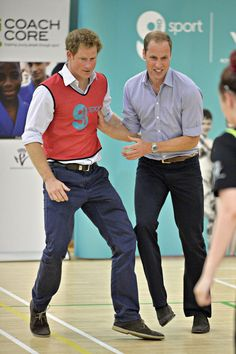 Prince Harry and Prince William get competitive while playing soccer!