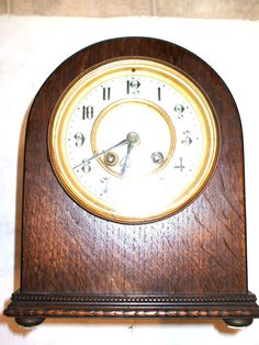 Japy Freres Victorian French  Oak Case Striking Mantle Clock  19 H, 12 W 16 D