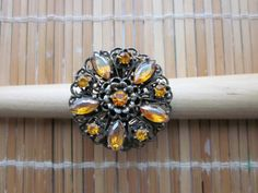 Large Ornate Amber Rhinestone Renaissance Style 14k Gold Filled Ring Size 5.5 US by Gementia13Jewels