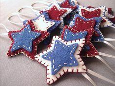 Rustic star ornaments, primitive decor, country decorations, felt folk art, shabby chic, patriotic decor, americana, set of 10