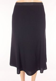 LIDA BADAY Skirt Size 14 L Large Black Waffle Weave Wool Full Long Wear To Work #LidaBaday #FullSkirt