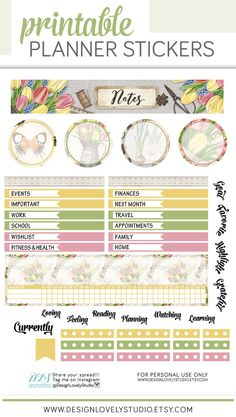 Invite spring into your Erin Condren notes page with this beautiful, floral vintage spring printable planner stickers kit from Design Lovely Studio! Printable Calendars, Printable Planner Stickers, Free Printables, Free Planner, Happy Planner, Summer Planner, Planner Supplies, Planner Decorating, Erin Condren Life Planner