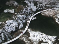 Croatia's Plitvice Lakes National Park with its frozen waterfalls in winter