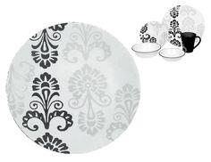 "Corelle Vitrelle MARISSA 10 1/4"" DINNER PLATE Black & Gray FLORAL BAROQUE *New #CorningWare"