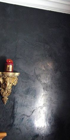Fireplace Feature Wall, Fireplace Design, Venetian Plaster Walls, Feature Wall Design, Polished Plaster, Distressed Walls, Faux Painting, Wall Finishes, Black Walls