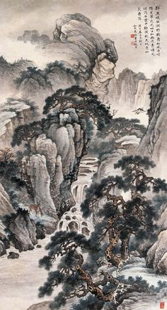 "Ink on Paper, Painting ""Solitary Temple by the Pine Cave"" Chinese Landscape Painting, Korean Painting, Landscape Art, Landscape Paintings, Sumi E Painting, Japan Painting, China Painting, Chinese Picture, Chinese Art"