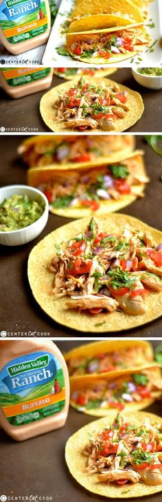 SLOW COOKER BUFFALO RANCH CHICKEN TACOS are so easy to make with only a few ingredients! The creamy, spicy, and tangy flavor is sure to be a huge hit for any taco lover!