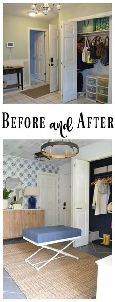 Mudroom before & after using our Indigo Shibori wallpaper