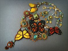 Artisan jewelry set with bead embroidered от Gemsplusleather