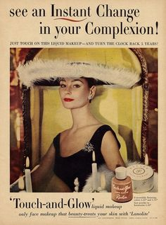 Revlon 'Touch and Glow' makeup advertisement, 1950s.