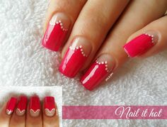 Nails Pretty Nail Designs, Nail Art Designs, Reverse French Manicure, Red Nails, Nails Inspiration, Pretty Nails, Pedicure, Acrylic Nails, Nail Polish